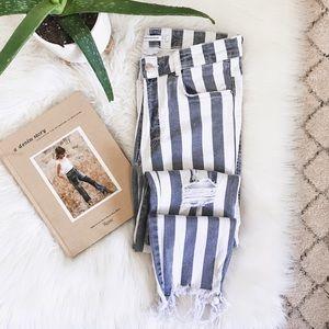 ZARA • Gray Stripe Raw Hem Distressed Skinny Jeans